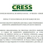 CRESS/SE retifica edital de seleção para assistente administrativo
